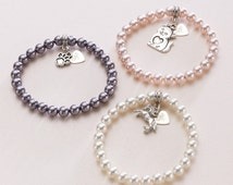 Pet Loss Pearl Bracelet with Engraved Tag. Loss of Horse, Cat, Dog. Sympathy Gift.