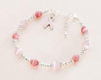 Breast Cancer Awareness Ribbon Charm Bracelet. Breast Cancer Jewellery with Pink Ribbon Charm.
