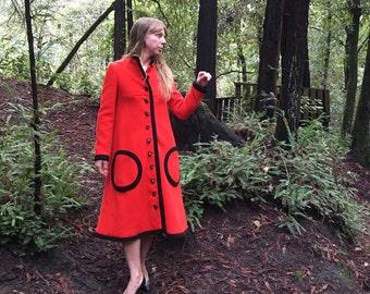 Mod Magic VTG 60's Romantic Red Coat
