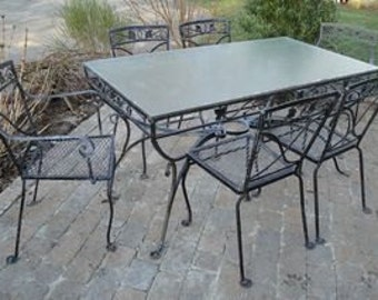 Vintage wrought iron Salterini Mount Vernon patio dining table and six chairs