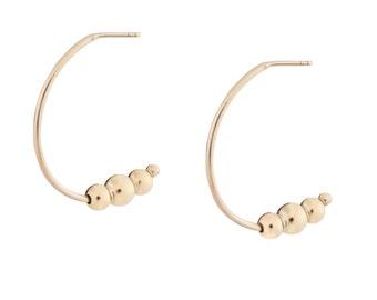 Gold-tone bubble hoop earrings