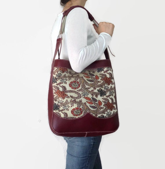 Dark Red Leather Carpet Bag/ Hobo/ Ethnic/ Handmade Hand Stitched Bag