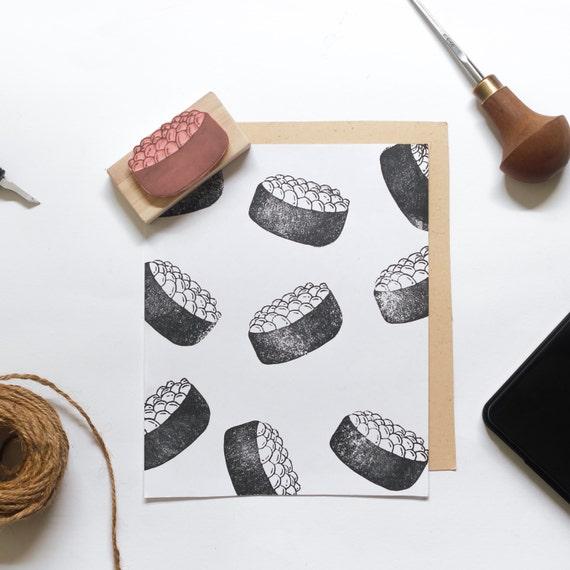 Ikura Sushi Linocut Stamp - Handmade Linocut Stamp Rubber Stamp