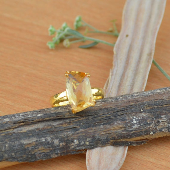 Fancy Shape Yellow Citrine Ring - Yellow Gold Overlay Ring - Ring Size 9.5 - 925 Sterling Silver - Designer Citrine Ring Size 9.5