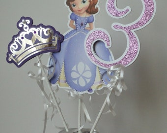Sofia the First Centerpiece or  Cake Topper, Princess Sofia Centerpiece, Double sided.
