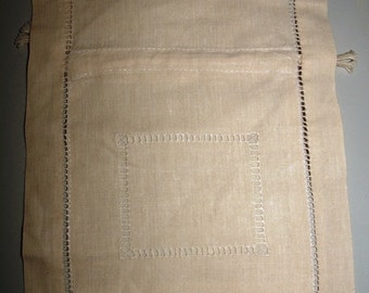 Linen Cutwork Drawstring Tie Bag for gifts - light beige 10 x 8 inches