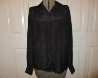 Vintage Christian Dior black button front blouse size 10
