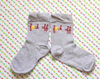 F*ck *ff embroidered socks / Chaussettes brodées F*ck *ff
