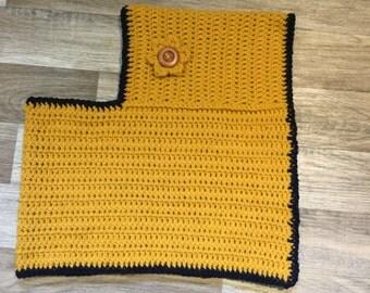 Handmade 2-4 years Crochet Poncho Mustard & Navy with Crochet Button Flower