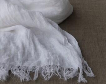 long white linen scarf – lightweight gauze shawl wrap