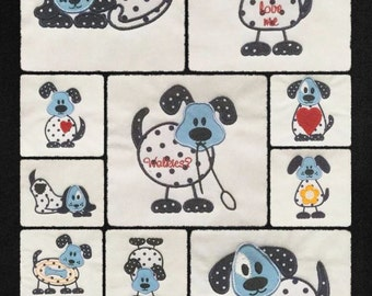 NNC Dog Quilt Blocks for the 4x4 (100x100) hoop in all popular formats