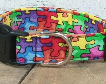 Autism dog collar, autism awareness dog collar, autism martingale dog collar, autism awareness, dog collar, bright dog collar, dog gifts