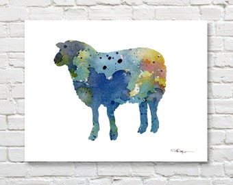 Blue Sheep Art Print - Abstract Watercolor Painting - Wall Decor