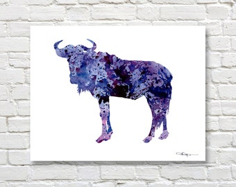 Wildebeest Art Print - Abstract Watercolor Painting - Wildlife Wall Decor