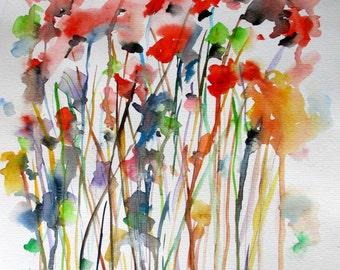 "ORIGINAL WATERCOLOR CONCORDIA / / flowers / / 2014 by Rovira Rusiñol / / 15.3 ""x 11.13"