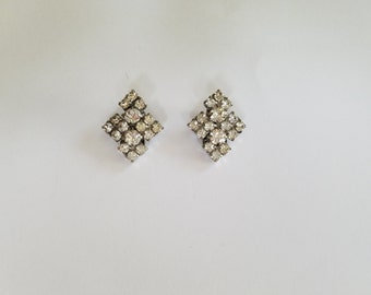 Vintage Diamond Shaped Rhinestone Clip On Earrings