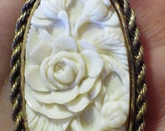 Antique Large Sterling Silver Hand Carved Ivory Pendant Gilded Silver Gilt Flowers