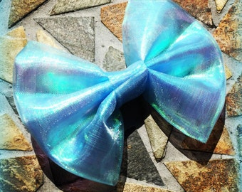 Mermaid Inspired Holographic Shiny Aqua Multicolored Hair Bow Set