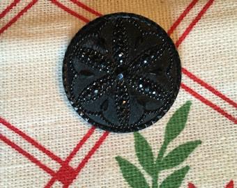 """Antique Large Lacy Flower Black Glass Button; 1 1/4"""""""