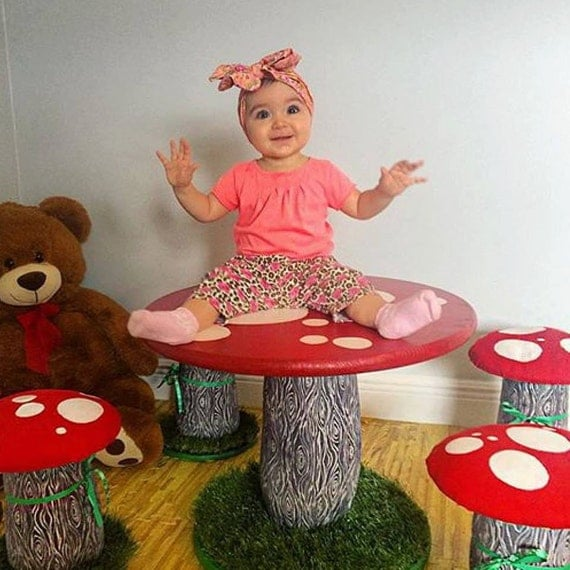 Mushroom Table, Stools, Chairs, Handcrafted Set of Stools with Mushroom Table, Kids Children's Stools and Table, Handcrafted