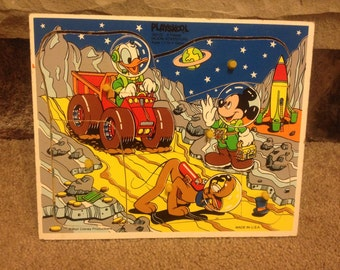 Vintage Walt Disney Playskool 6 PC Wood Puzzle Mickey Mouse Donald Duck tray puzzle