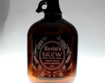 HomeBrew Custom Growler & 2 Glasses with  Brew Modern Hops and Wheat Design. Homebrew, Beer, Beer Gift, , Beer Glass, fathers day gift,