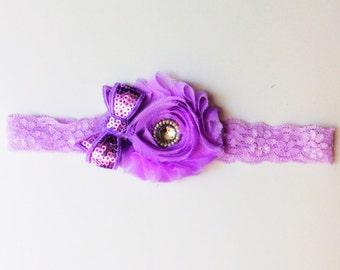 baby girl headband; lavender baby girl headband; lavender lace headband; baby headband