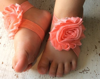 Baby barefoot sandals; coral baby barefoot sandals;  baby barefoot sandal; flower sandal