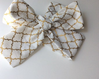 Baby headwrap; baby headband ; white/ gold fabric head wrap; newborn headband; baby headband; toddler headband; adult headband; girl
