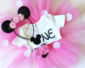 Minnie mouse birthday outfit - pink - birthday outfit - Tutu Collection