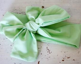 Baby headband; Rosie Wrap-headwrap; spring green fabric head wrap; newborn headband; baby headband; toddler headband; adult headband; girl