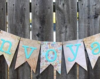 Bon Voyage Banner, Honeymoon Banner, Vacation Banner, Trip Banner, Travel Banner, Wedding Decoration, Wedding Banner, Party Decor