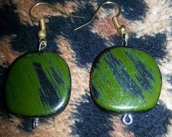 Green/Black Abstract earrings 2