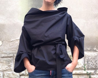 Black Minimalist/Assymetrical Lagenlook Blouse/ Womens Extravagant Top
