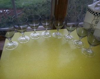 Vintage Set of EIGHT Smokey Grey Crystal Small Cordial Glasses STUNNING!