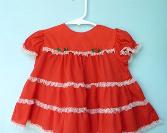 1980's Vintage Red Infant Valentine's Day Dress w/ Tiered skirt and Lace  by Bryan 12-18 Months