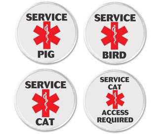 """Service Pig / Bird / Cat Medical Alert Symbol Sign 3"""" Sew On Patch Access Required Assistance Disability Therapy Animal (794)"""