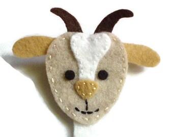 Felt goat brooch / pin