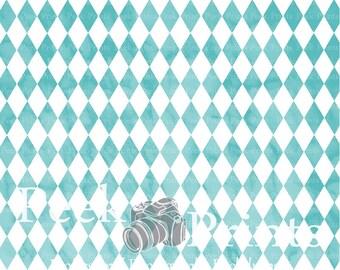 8ft.x8ft. Vintage Teal Argyle Vinyl Photography Backdrop - Circus Background - Boy Backdrop - Photo Background