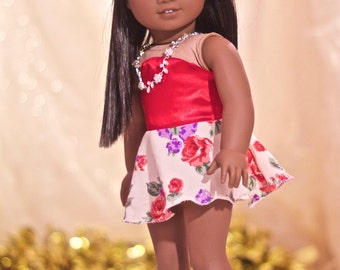 Red Floral Short Dress for American Girl 18 inch Doll