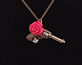 Rose and Revolver Necklace