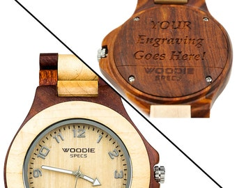 Handcrafted Mens Wood Watch Made From 100% Natural Maple and Red Sandalwood. FREE Custom Engraving!