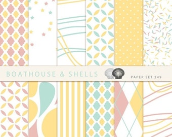 ON SALE AFTERNOON Tea 2 Scrapbook digital paper - 12 digital papers with geometric patterns in mint/dusky pink/yellow - download - printable