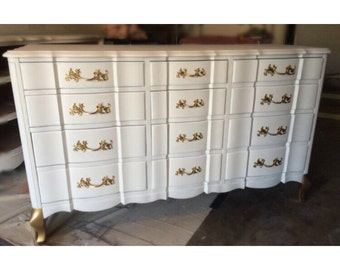 Custom Gold And White French Provincial Dresser, Nightstands, Changing Table,  Buffet, Credenza