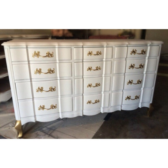 Custom Gold And White French Provincial Dresser Nightstands