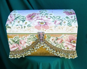 5.00 OFF - Beautifully Decoupaged and Embellished Storage Trunk