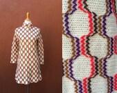 Vtg 60's shift dress groovy acrylic knit zip up high neck sweater mini pop art white orange brown purple