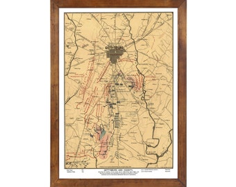 Gettysburg Battlefield Map publ. 1883; 24x36 Print from a Vintage Lithograph