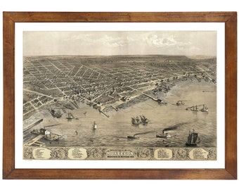 Muskegon, MI 1868 Bird's Eye View; 24x36 Print from a Vintage Lithograph