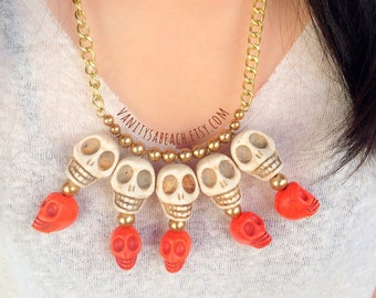 Heavy Skulls White and Orange Necklace